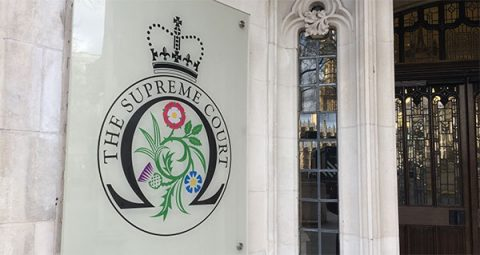 Supreme Court of Justice entrance, London's Parliament Square