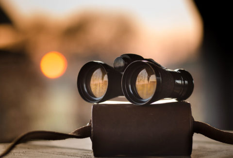 Pair of binoculars with blurred background - photo: Pexels