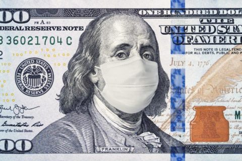 Benjamin Franklin wearing a face mask on a mocked up dollar bill