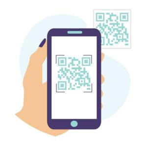 QR code on a mobile phone - illustration
