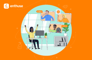 Business as unusual - Enthuse logo with illustrations of different people working in different ways - home-based, office-based etc